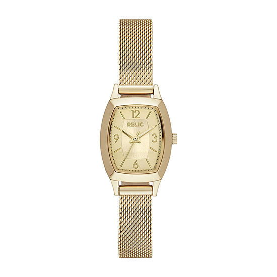 Relic By Fossil Everly Mesh Womens Gold Tone Bracelet Watch-Zr34558