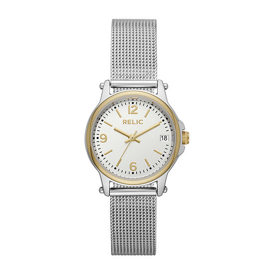 Relic By Fossil Matilda Mesh Womens Silver Tone Bracelet Watch-Zr34562