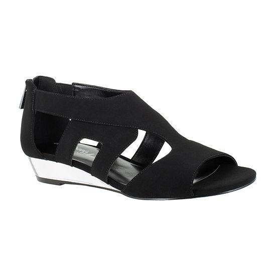 Easy Street Womens Abra Zip Peep Toe Wedge Heel Pumps