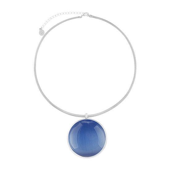 Liz Claiborne Womens Blue Round Pendant Necklace