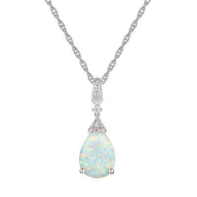 Womens Lab-Created Opal & Lab-Created White Sapphire Sterling Silver Pendant Necklace