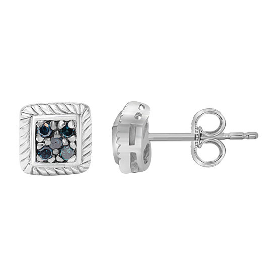 1/10 CT. T.W. Genuine Blue Diamond Sterling Silver 13.9mm Stud Earrings