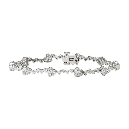 1 Ct Tw Genuine White Diamond Sterling Silver Heart 7 Inch Tennis Bracelet