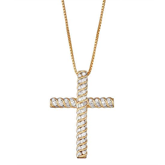 Womens 1/2 CT. T.W. Genuine White Diamond Sterling Silver Cross Pendant Necklace