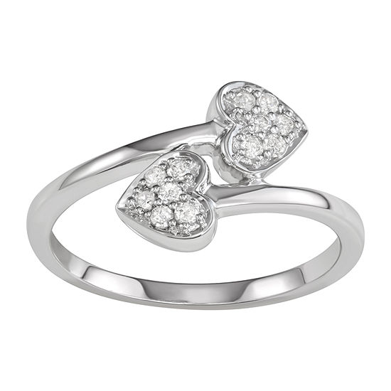 Womens 1 6 Ct Tw Genuine White Diamond Sterling Silver Crossover Promise Ring