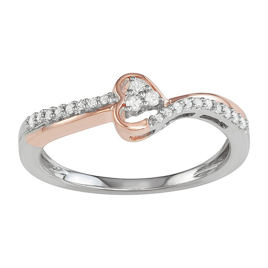 Womens 1/6 CT. T.W. Genuine White Diamond Sterling Silver 3-Stone Promise Ring