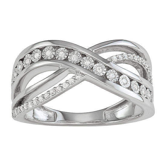 Womens 2mm 1 5 Ct Tw Genuine White Diamond Sterling Silver Band