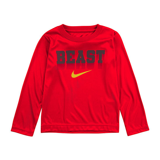 Nike Dri-Fit Boys Round Neck Long Sleeve Dri-Fit Graphic T-Shirt-Toddler