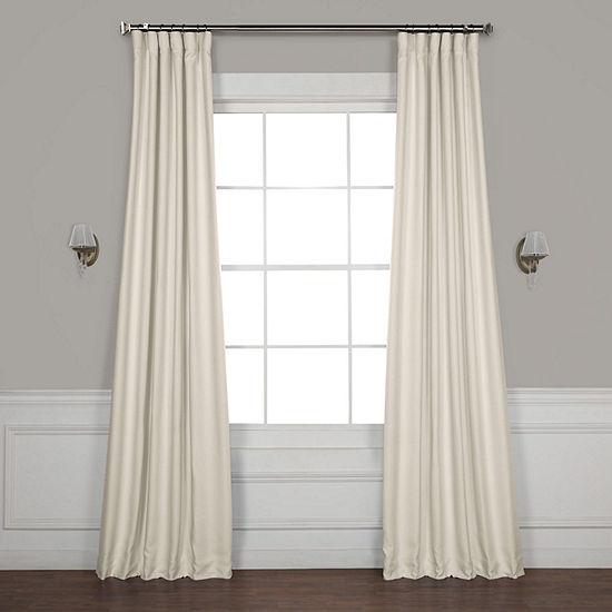 Exclusive Fabrics & Furnishing Faux Linen Blackout Rod-Pocket/Back-Tab Curtain Panel
