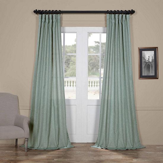 Exclusive Fabrics & Furnishing Faux Linen Sheer Rod-Pocket/Back-Tab Curtain Panel