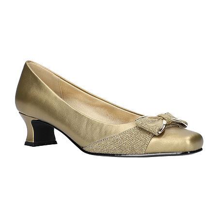 Easy Street Womens Rejoice Spike Heel Pumps, 6 1/2 Extra Wide, Yellow