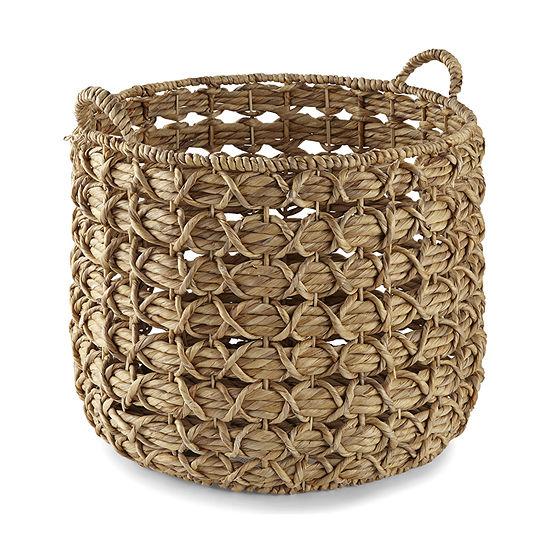 Enchante Natural Water Hyacinth Round Decorative Storage Basket