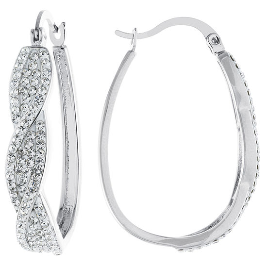 Sparkle Allure Crystal Clear Pure Silver Over Brass 35mm Oval Hoop Earrings