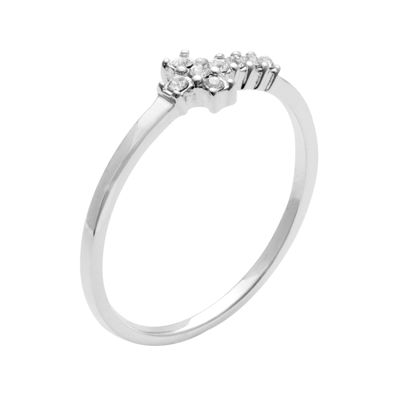 itsy bitsy™ Sterling Silver Crystal Horizontal Cross Midi Ring