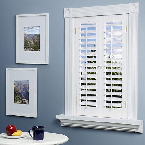 Faux wood plantation shutter - Decorative interior wall shutters ...