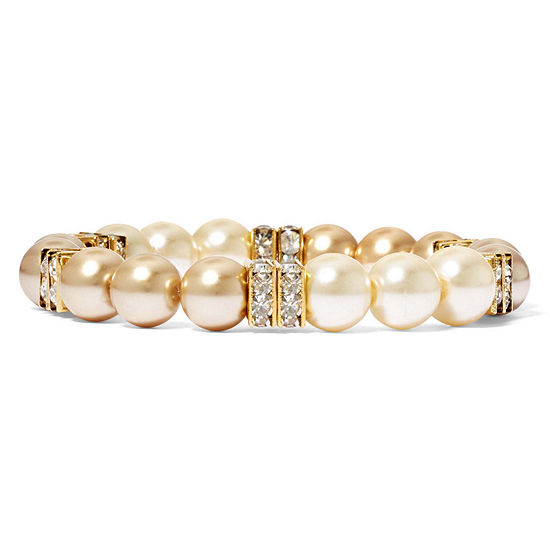 Vieste® Two-Tone Simulated Pearl and Rhinestone Gradient Stretch Bracelet