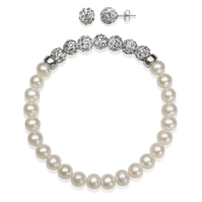 6-7Mm Cultured Freshwater Pearl And 6Mm Grey Lab Created Crystal Bead Sterling Silver Earring And Bracelet Set
