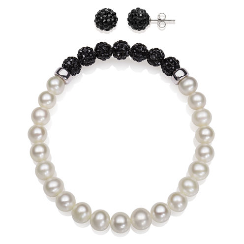 6-7Mm Cultured Freshwater Pearl And 6Mm Black Lab Created Crystal Bead Sterling Silver Earring And Bracelet Set