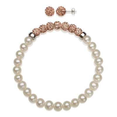 6-7Mm Cultured Freshwater Pearl And 6Mm Peach Lab Created Crystal Bead Sterling Silver Earring And Bracelet Set