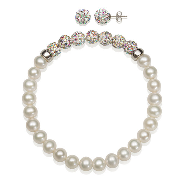 6-7Mm Cultured Freshwater Pearl And 6Mm White Lab Created Crystal Bead Sterling Silver Earring And Bracelet Set