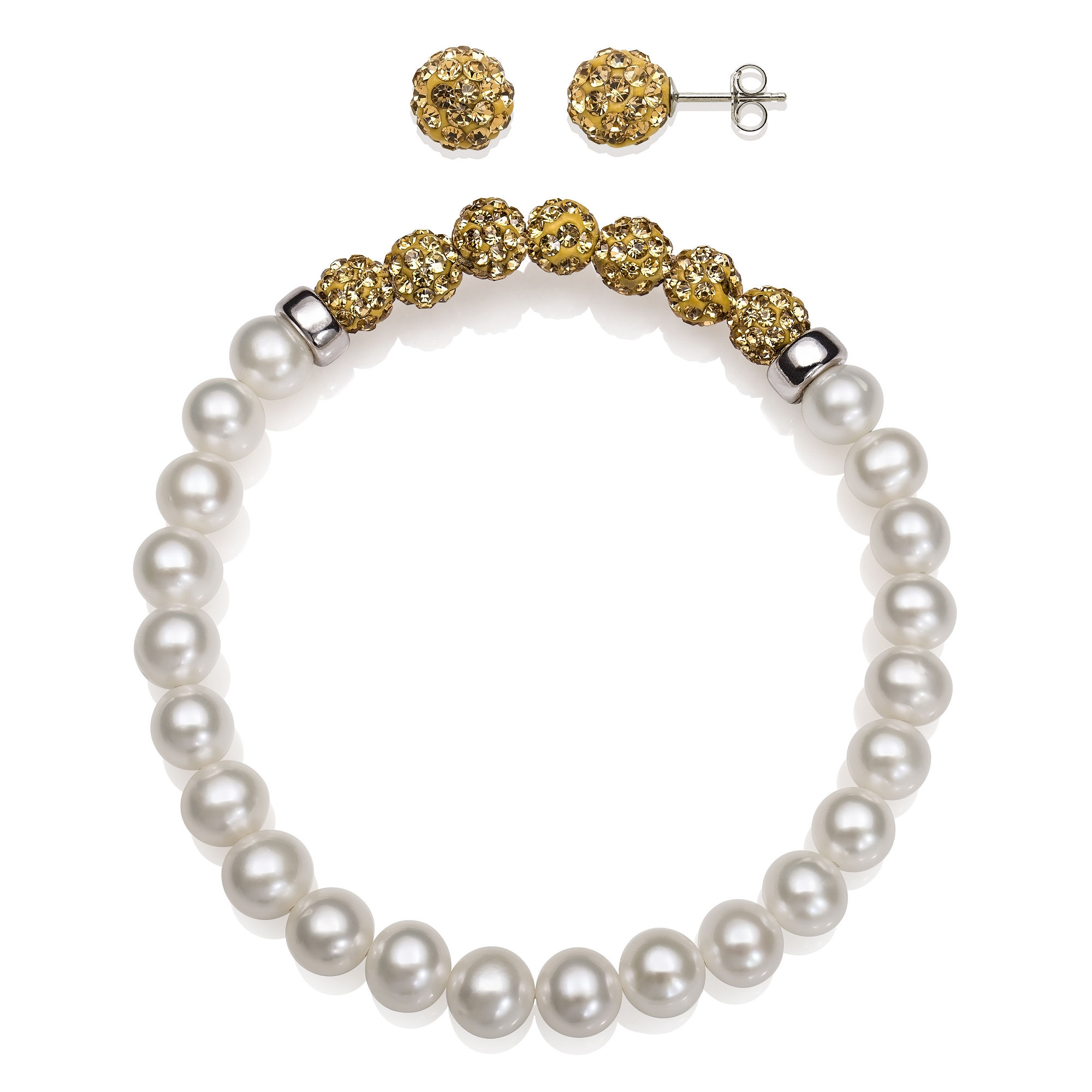 6-7Mm Cultured Freshwater Pearl And 6Mm Brown Lab Created Crystal Bead Sterling Silver Earring And Bracelet Set