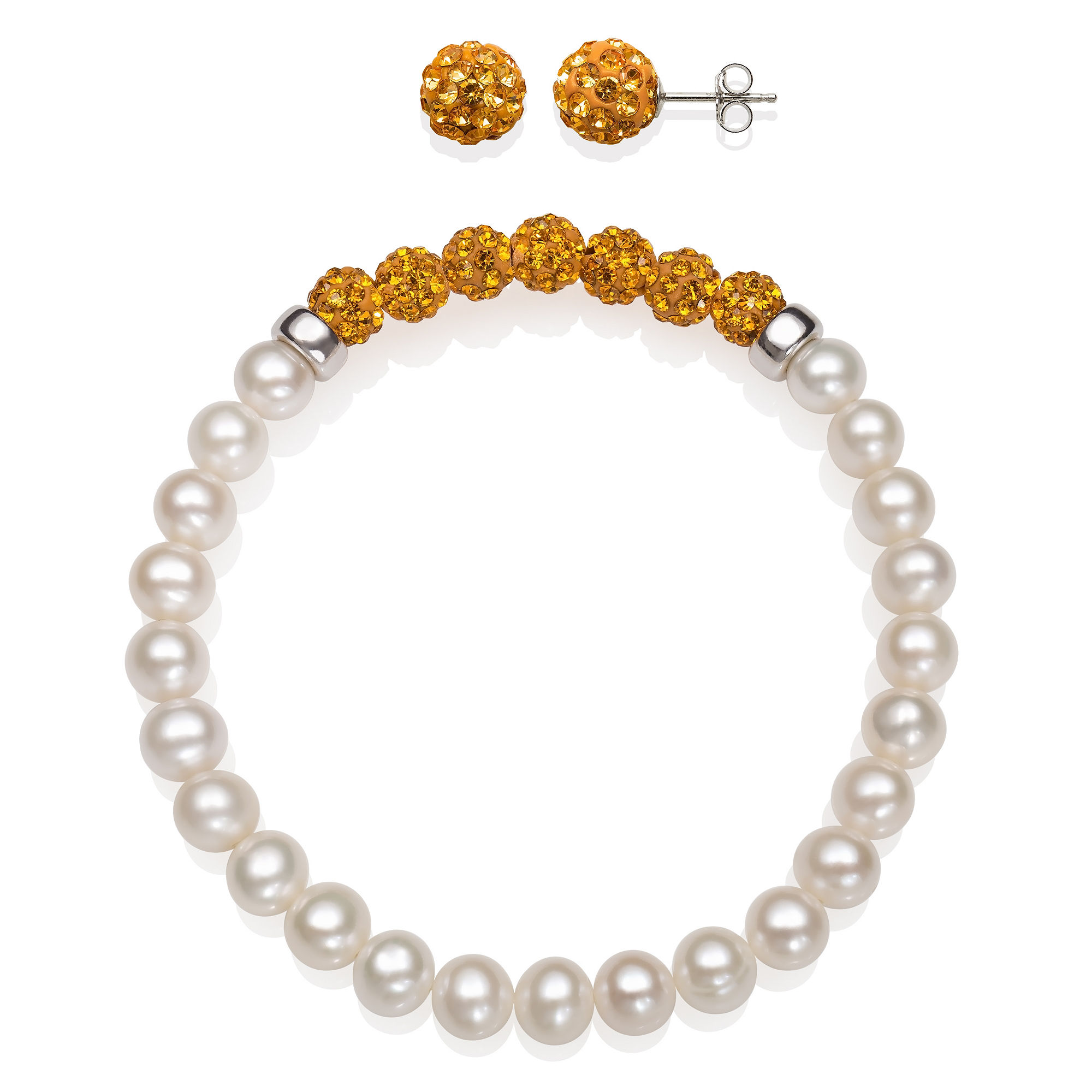 6-7Mm Cultured Freshwater Pearl And 6Mm Orange Lab Created Crystal Bead Sterling Silver Earring And Bracelet Set