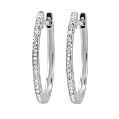 1/10 Diamond 14K White Gold Hoop Earring