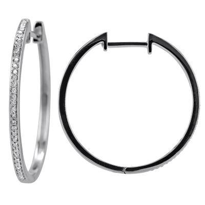 1/10 Diamond 14K White Gold Hoop Earring 1