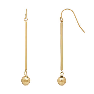 Infinite Gold™ 14K Yellow Gold Diamond Cut Dangle Bead Drop Earrings