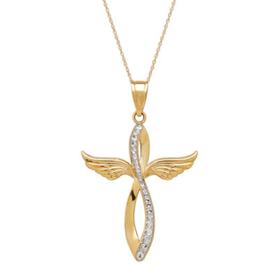 Infinite Gold™ 14K Yellow Gold Wing Cross Pendant Necklace