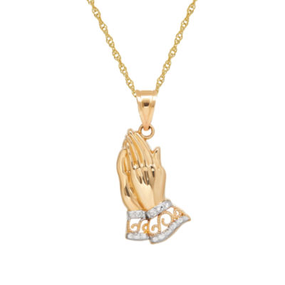 Infinite Gold™ 14K Yellow Gold Praying Hands Pendant Necklace