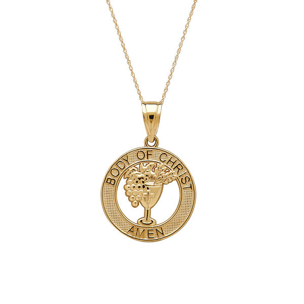 Infinite Gold™ 14K Yellow Gold Body of Christ Medal Pendant Necklace