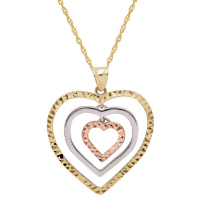 Infinite Gold™ 14K Gold Tri-Color Graduated Open Hearts Pendant Necklace