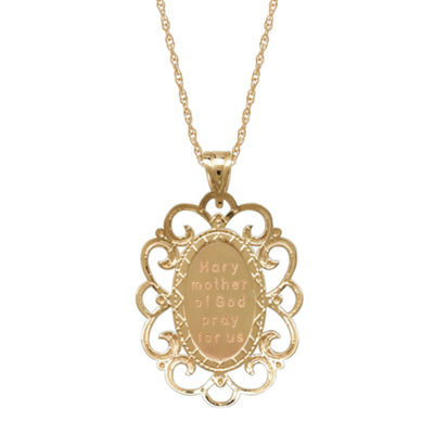 Infinite Gold™ 14K Yellow Gold Virgin Mary Filigree Oval Pendant Necklace