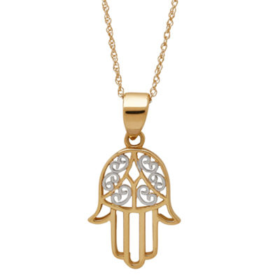 Infinite Gold™ 14K Yellow Gold Filigree Hamsa Pendant Necklace