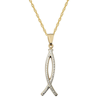 Infinite Gold™ 14K Gold Two-Tone Ichthys Pendant Necklace