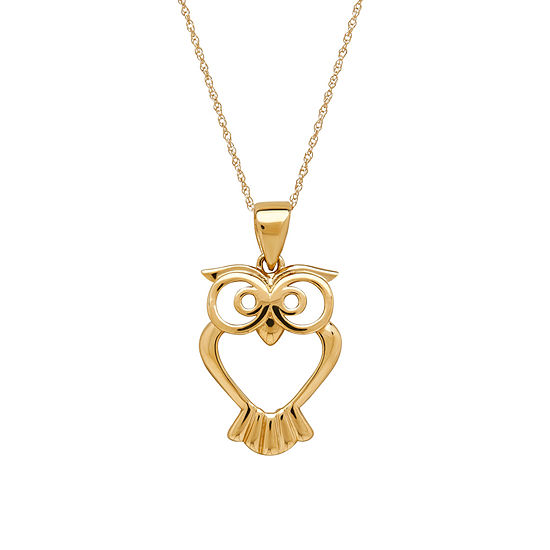 Infinite Gold™ 14K Yellow Gold Owl Pendant Necklace