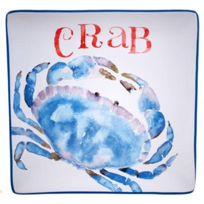 Certified International Beach House Kitchen Crab Square Platter