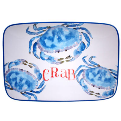 Certified International Beach House Kitchen Crab Rectangle Platter