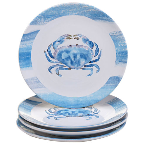 Certified International Beach House Kitchen Set of 4 Crab Dinner Plates