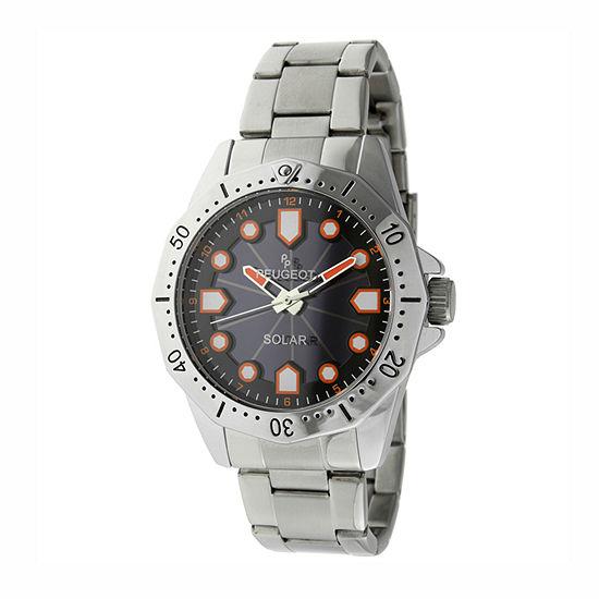Peugeot Mens Silver Tone Stainless Steel Bracelet Watch-1021