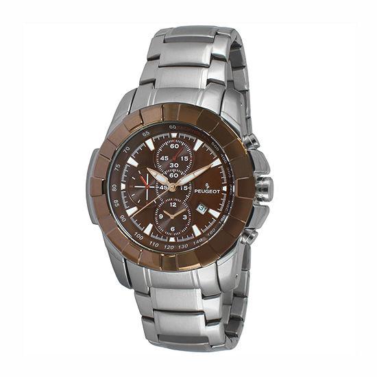Peugeot Mens Silver Tone Stainless Steel Bracelet Watch-1044br