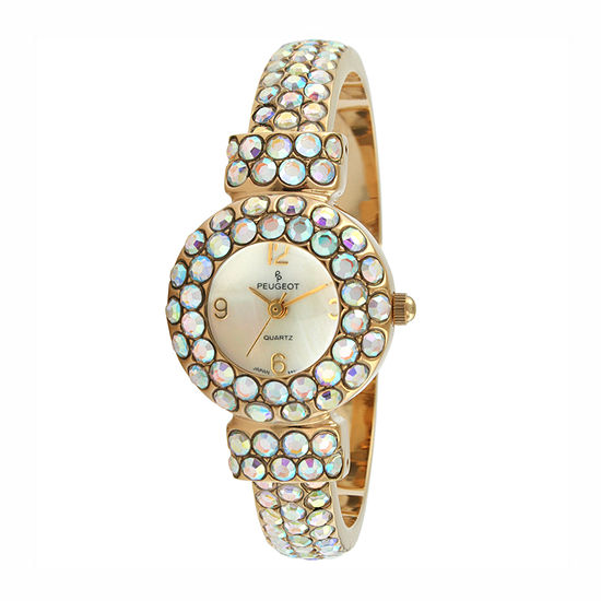 Peugeot Womens Crystal Accent Gold Tone Leather Bangle Watch-326ab