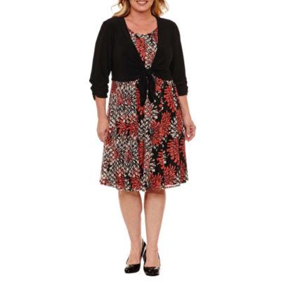 Perceptions 3/4 Sleeve Jacket Dress-Plus