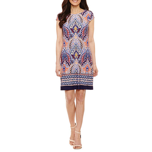 R & K Originals Short Sleeve Pattern Sheath Dress-Petites