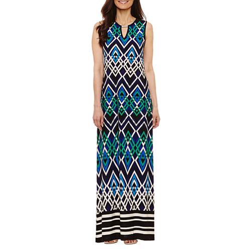 Tiana B Sleeveless Geometric Maxi Dress-Petites