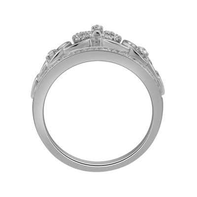 "Enchanted Disney Fine Jewelry 1/6 C.T. T.W. Diamond Sterling Silver ""Snow White"" Crown with Bow Ring"