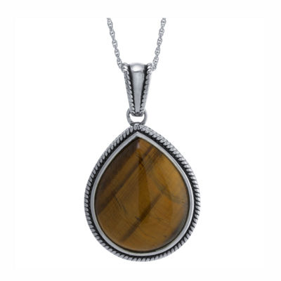 Womens Genuine Brown Tiger's Eye Sterling Silver Pear Pendant Necklace
