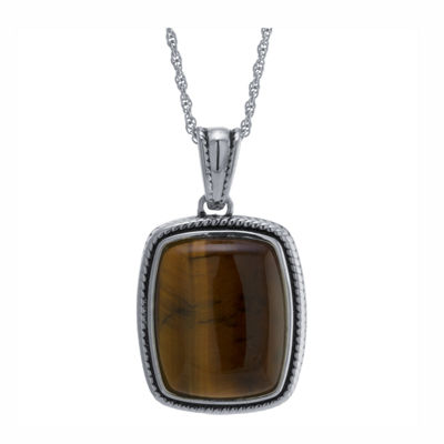Womens Genuine Brown Tiger's Eye Sterling Silver Rectangular Pendant Necklace