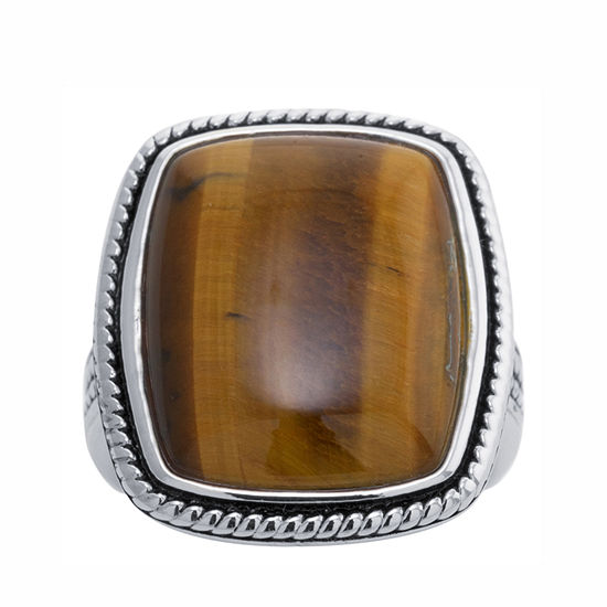 Womens Genuine Brown Tiger's Eye Sterling Silver Cocktail Ring